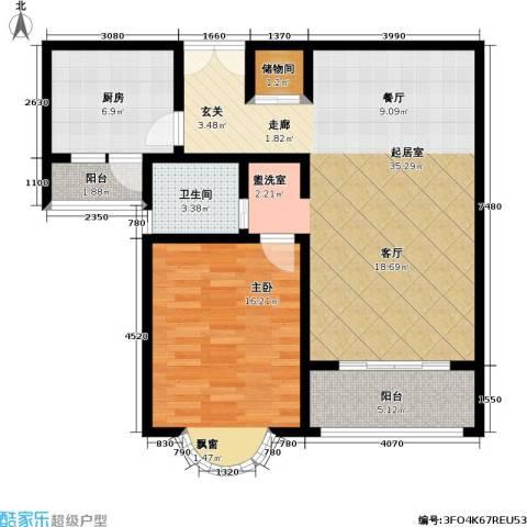 静安桂花园1室0厅1卫1厨82.00㎡户型图