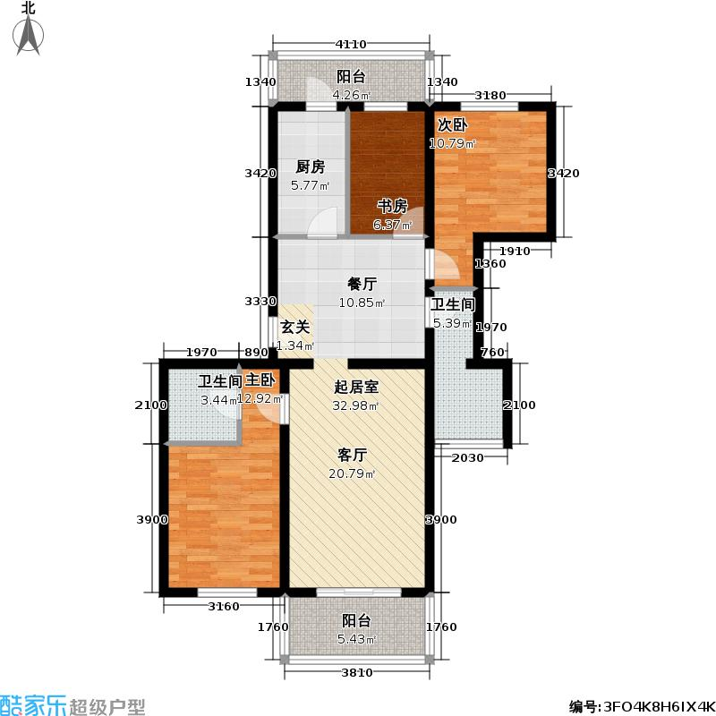 永安家园101.14㎡二室二厅二卫户型
