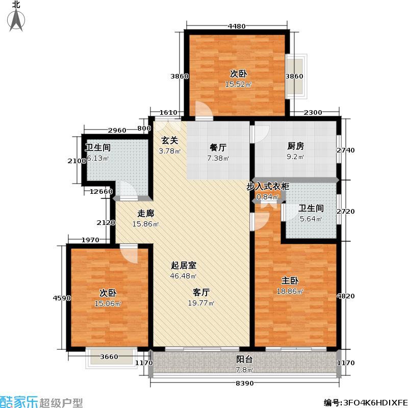东泰花苑144.48㎡房型: 三房; 面积段: 144.48 -148.58 平方米; 户型