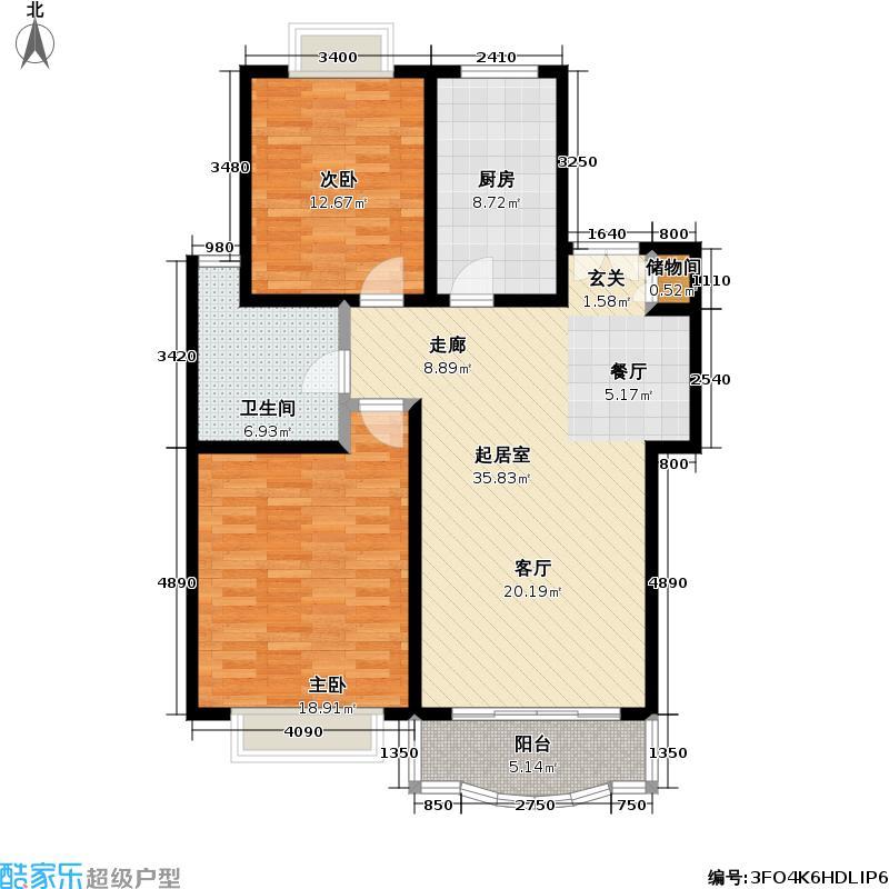 东泰花苑102.76㎡房型: 二房; 面积段: 102.76 -120.89 平方米; 户型