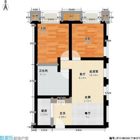 协信 中心2室0厅1卫1厨67.00㎡户型图