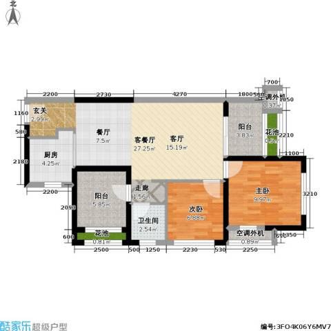 万科金域缇香2室1厅1卫1厨75.02㎡户型图