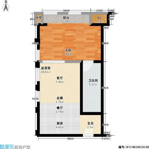 协信 中心1室0厅1卫0厨56.00㎡户型图