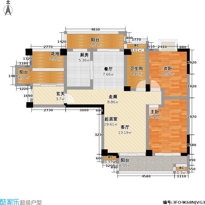 三金华都103.90㎡1号楼 C6户型 两室两厅一卫户型2室2厅1卫