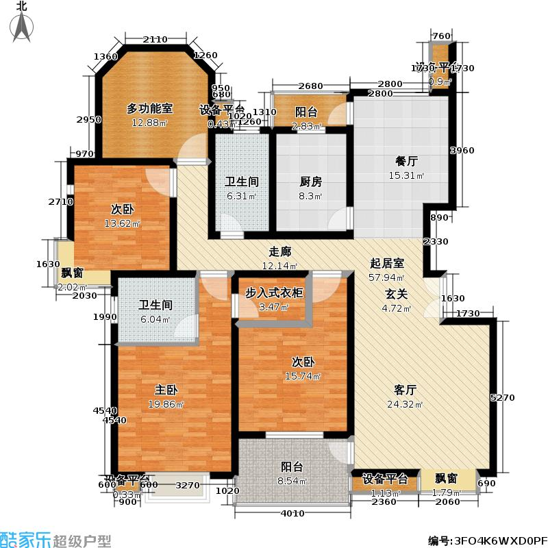 正阳世纪星城一期房型户型3室2卫1厨