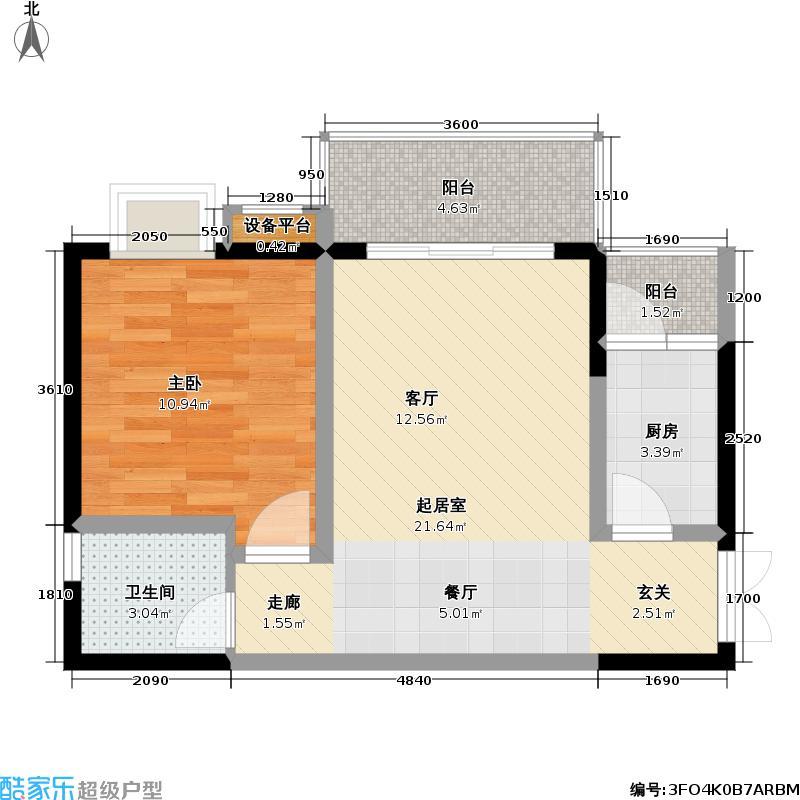 重庆阳光国际阳光国际66.06㎡3号楼B2(标准层)户型