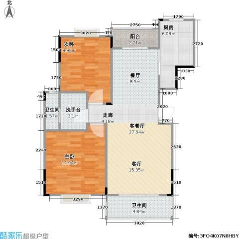 南国明珠2室1厅2卫1厨88.00㎡户型图