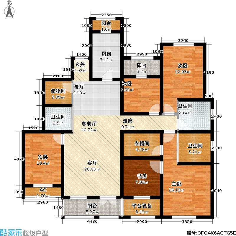 世嘉光织谷D2户型5室1厅3卫1厨