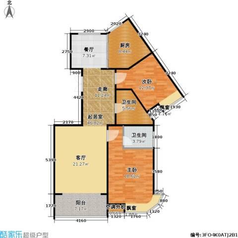山水名园三期2室0厅2卫1厨129.00㎡户型图