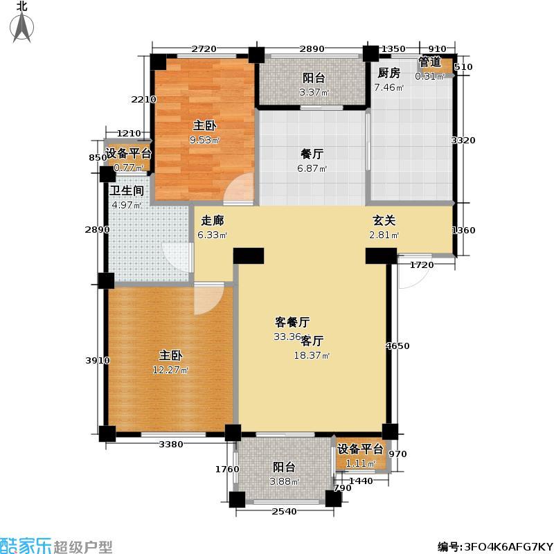 藏龙星天地一期D1-b户型2室1厅1卫1厨
