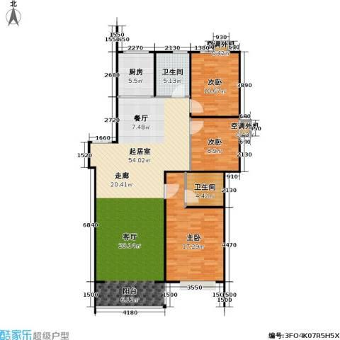 山水名园三期3室0厅2卫1厨142.00㎡户型图