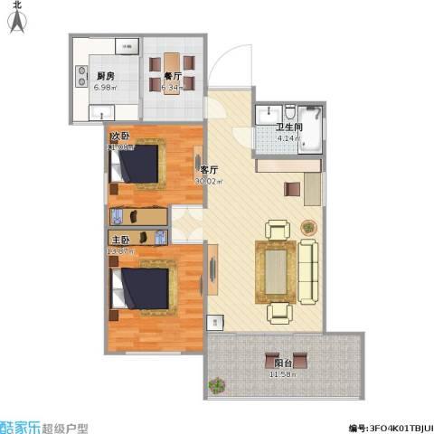 凯丽滨江2室2厅1卫1厨113.00㎡户型图