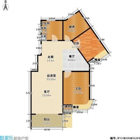 山水名园三期2室0厅1卫1厨129.00㎡户型图