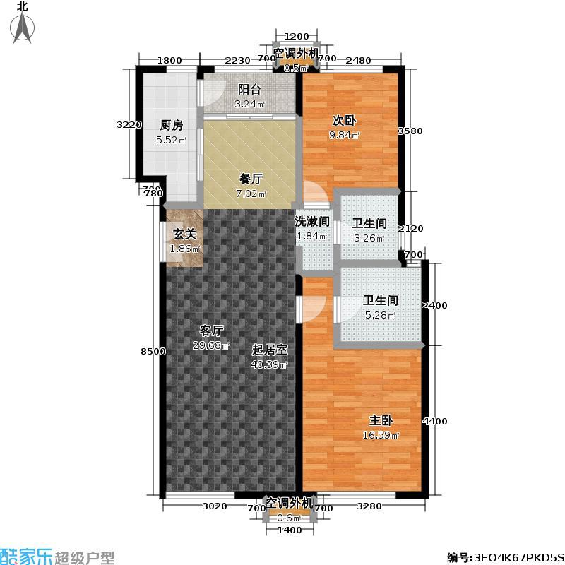 玺萌公馆108.83㎡玺萌公馆户型图A01两室两厅两卫(2/18张)户型10室