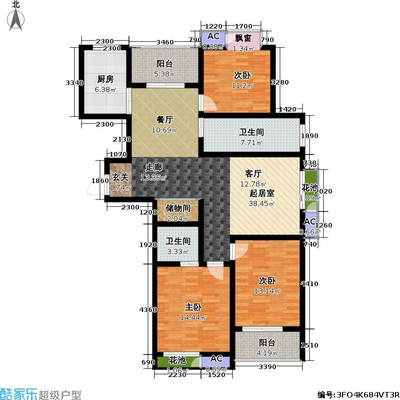 景泰家园03型户型3室2卫1厨