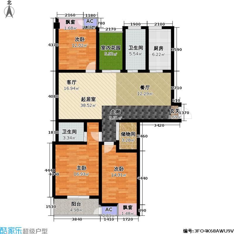 景泰家园04型户型3室2卫1厨