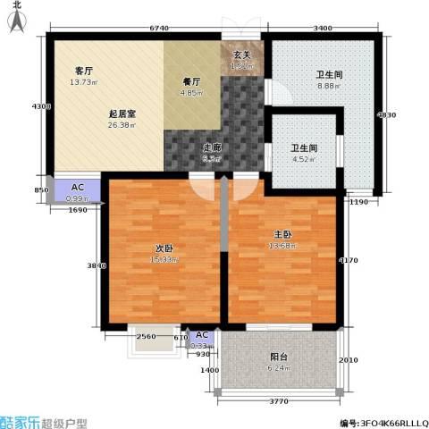 东方明珠花园2室0厅2卫0厨110.00㎡户型图