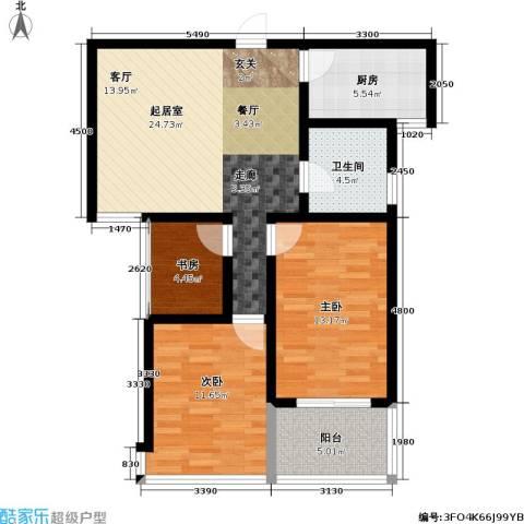 迎宾秀园3室0厅1卫1厨80.00㎡户型图