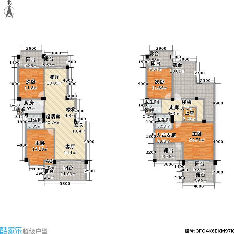 碧园南城故事171平米四房两厅三卫户型