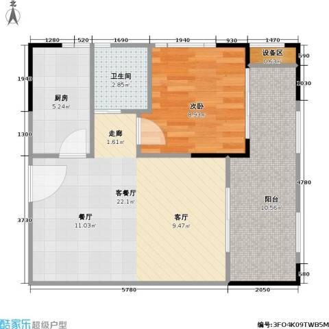 海语江山 海尔・海语江山1室1厅1卫1厨68.00㎡户型图