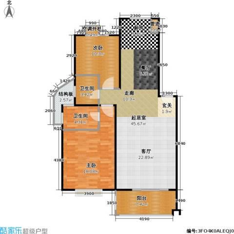山水名园三期2室0厅2卫0厨124.00㎡户型图