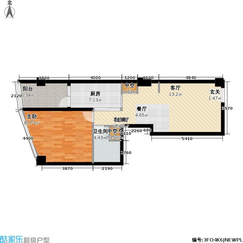 碧云公馆74.00㎡D2户型 1室2厅1卫1厨户型