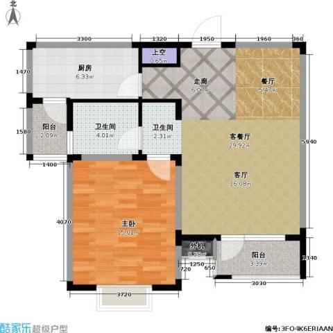 星胜客1室1厅1卫1厨69.54㎡户型图