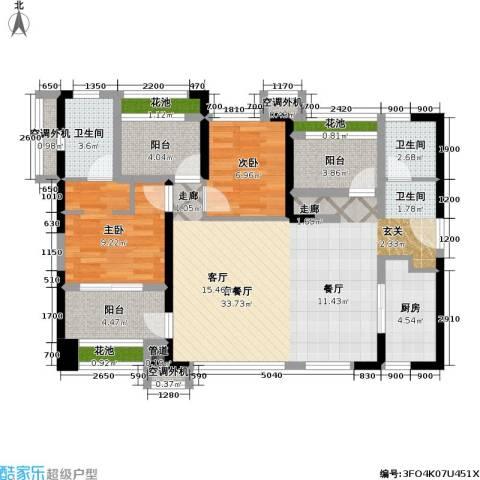 万科金域缇香2室1厅2卫1厨94.54㎡户型图