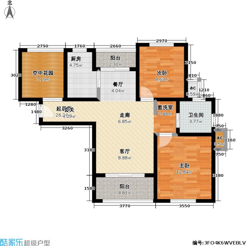 东方帕堤欧85.00㎡二房二厅一卫户型