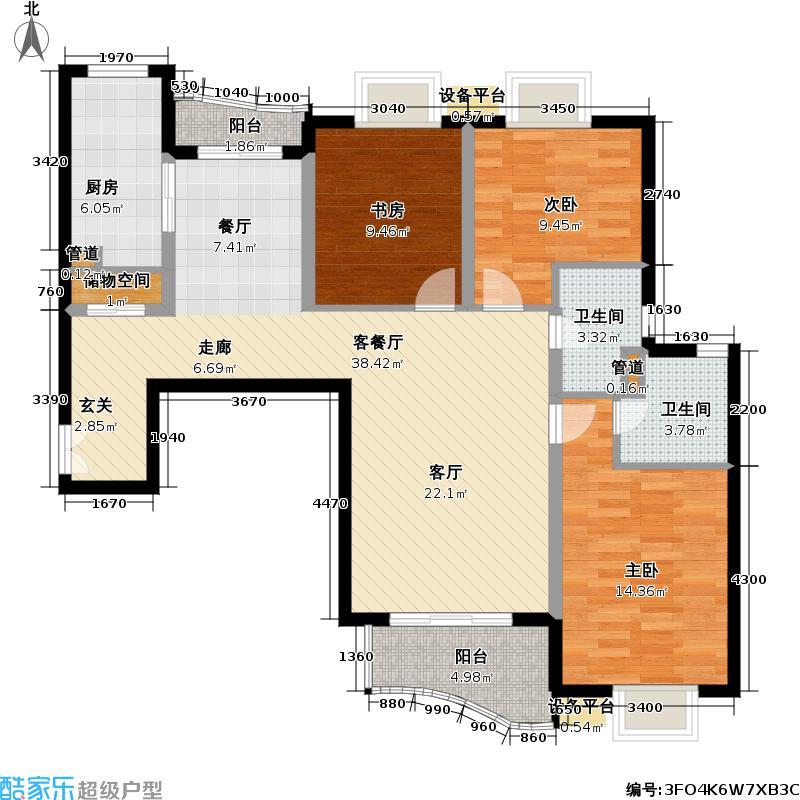 精文城市家园一期107.00㎡房型: 三房; 面积段: 107 -145 平方米;户型