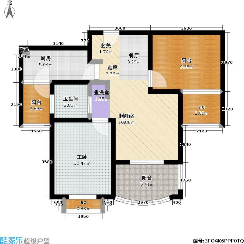 东方帕堤欧1室2厅1卫1厨70.65㎡户型