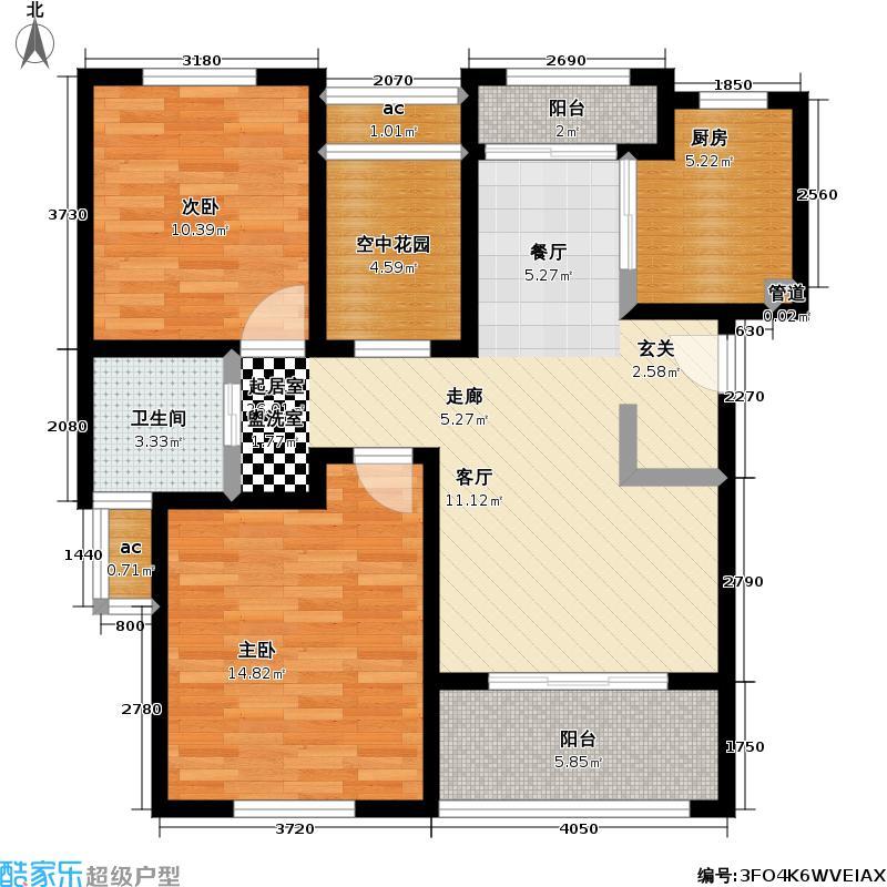 东方帕堤欧89.00㎡二房二厅一卫,面积约89平方米户型