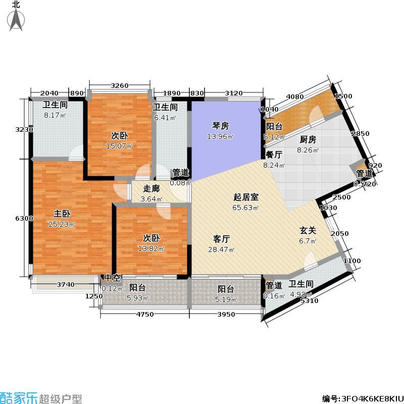 皇都花园183.72㎡CYA1(2、6、10层) 3室2厅3卫户型