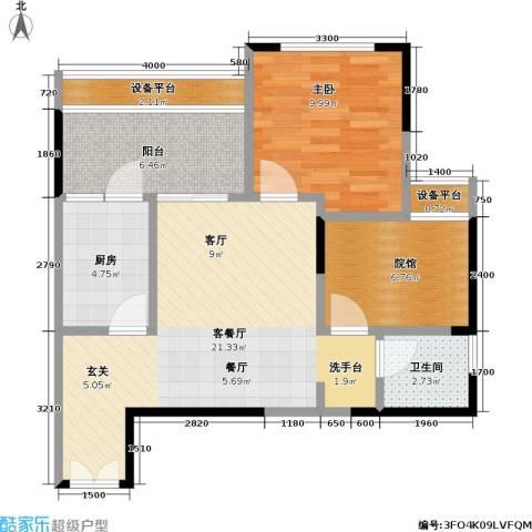 财信城市国际1室1厅1卫1厨54.85㎡户型图