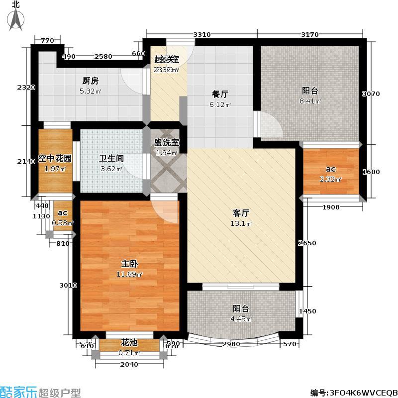 东方帕堤欧75.00㎡一房二厅一卫户型