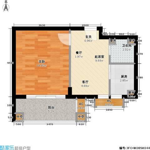 天华绿谷庄园1室0厅1卫1厨42.00㎡户型图