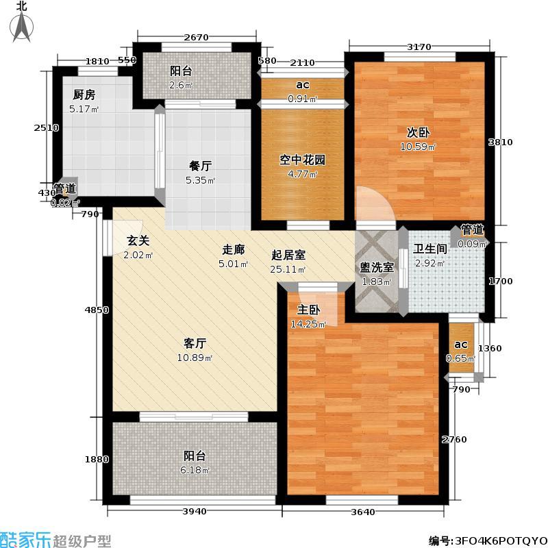 东方帕堤欧2室2厅1卫1厨88.77㎡户型
