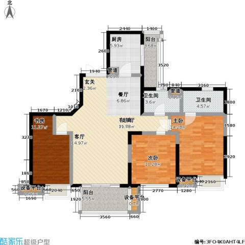 瑞安重庆天地3室1厅2卫1厨111.00㎡户型图