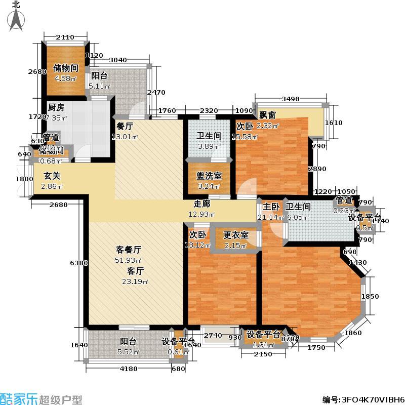 绿洲康城3室2厅2卫 169平米户型