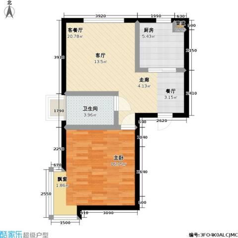 天元瑞�名苑1室1厅1卫1厨55.00㎡户型图
