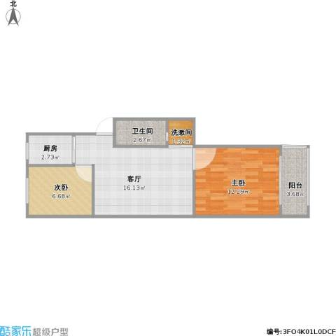 宁工二村2室1厅1卫1厨62.00㎡户型图