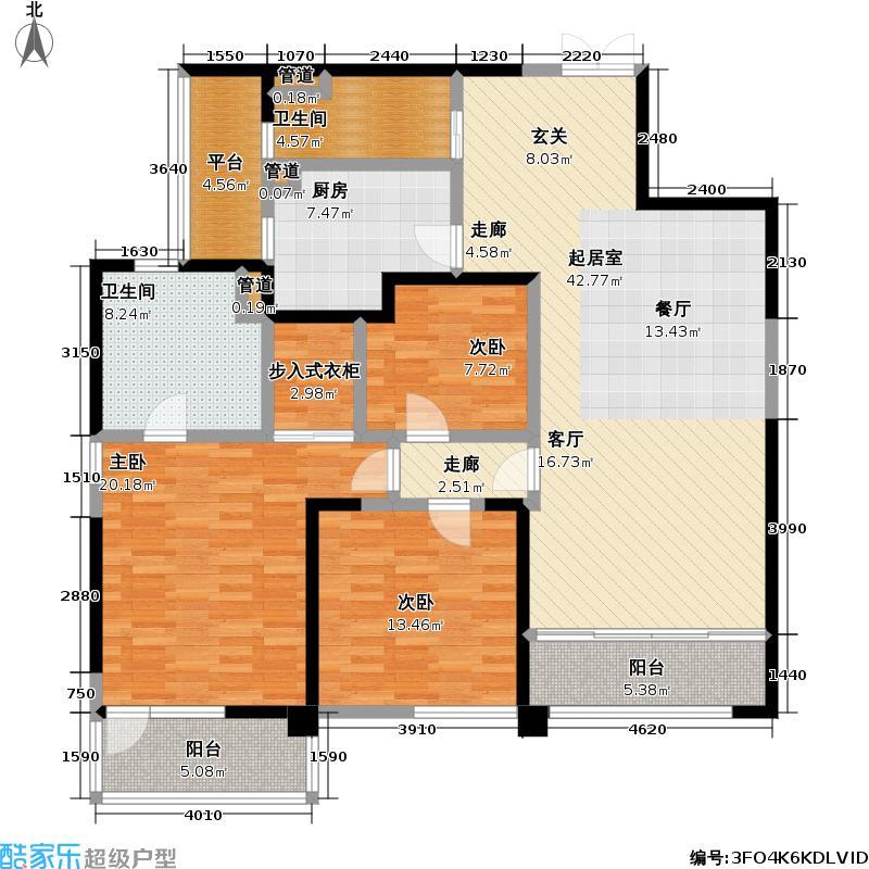 皇都花园146.75㎡CYB3(4、8、12层) 3室2厅2卫户型