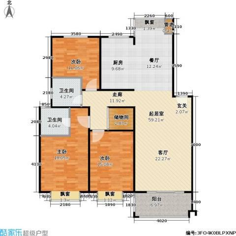 山水名园三期3室0厅2卫0厨163.00㎡户型图