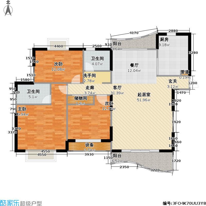 东明家园135.50㎡房型: 三房; 面积段: 135.5 -155.7 平方米;户型