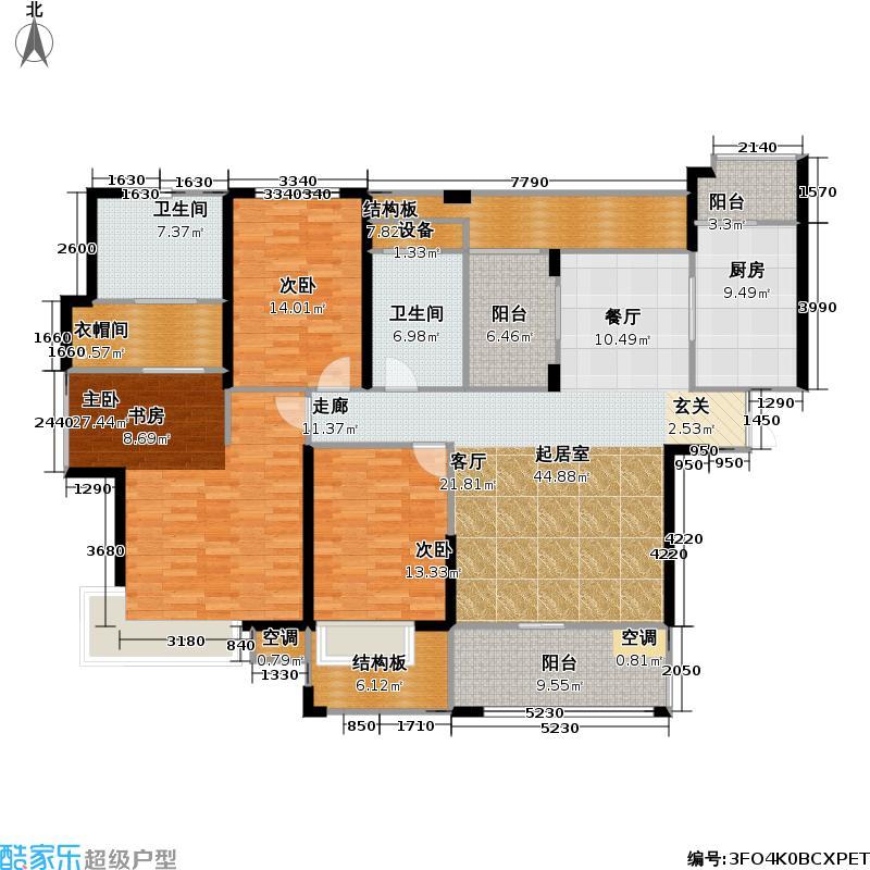 世茂・江滨花园世茂首府162.80㎡8、13号楼(奇数层)户型