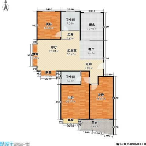山水名园三期3室0厅2卫1厨181.00㎡户型图