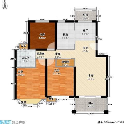 宝地绿洲城一期3室0厅1卫1厨109.00㎡户型图