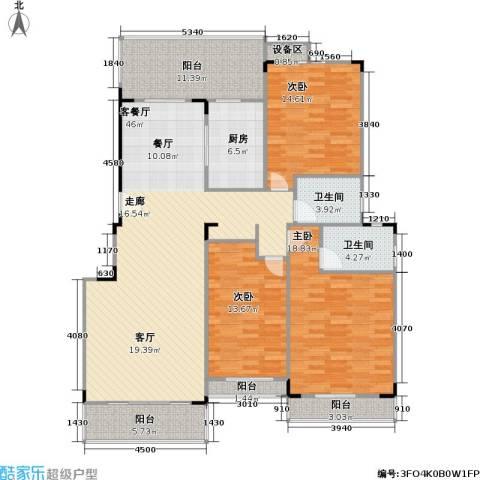 南国明珠3室1厅2卫1厨144.00㎡户型图