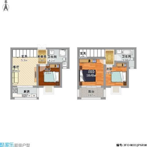地久艳阳天3室1厅2卫1厨95.00㎡户型图
