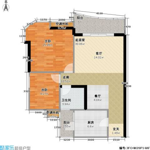 庆业巴蜀城B区2室0厅1卫1厨74.15㎡户型图